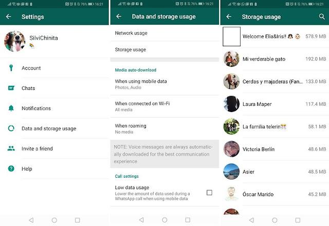 whatsapp شاهد استخدام تخزين على واتساب