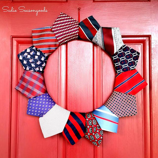 Patriotic Necktie Wreath 4th of July