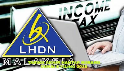 Tarikh Akhir Hantar Borang Cukai e-Filing 2018 LHDN