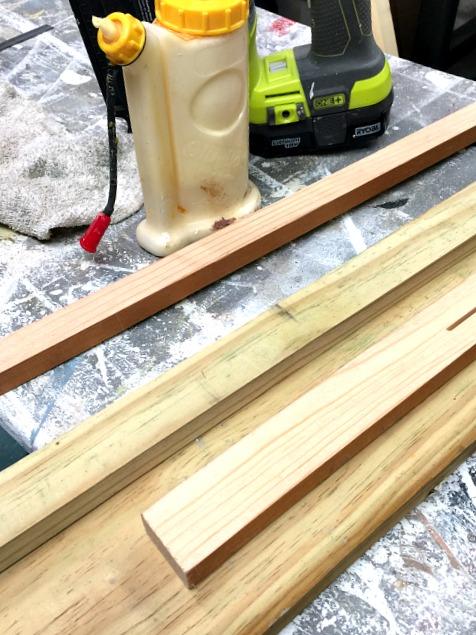 Wood glue, wood and a nail gun