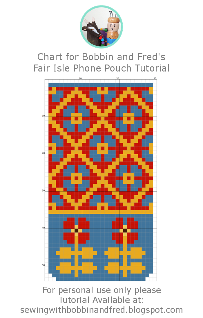 Fair isle phone pouch cross stitch chart