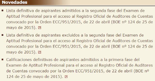 Listas definitivas aspirantes admitidos excluidos segunda fase acceso ROAC examen práctico 2015 fecha hora lugar calificaciones definitivas primera fase
