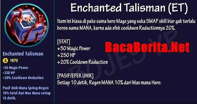 Fungsi item mage Enchanted Talisman mobile legend
