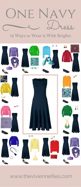 One Navy Dress in a Capsule Wardrobe: 14 Ways to Wear it With Bright Colors