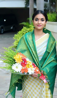 Keerthy Suresh in Saree with Cute and Awesome Lovely Smile