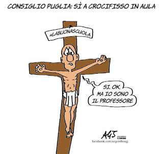 crocifisso, consiglio regionale puglia, scuola, #labuonascuola, vignetta, satira