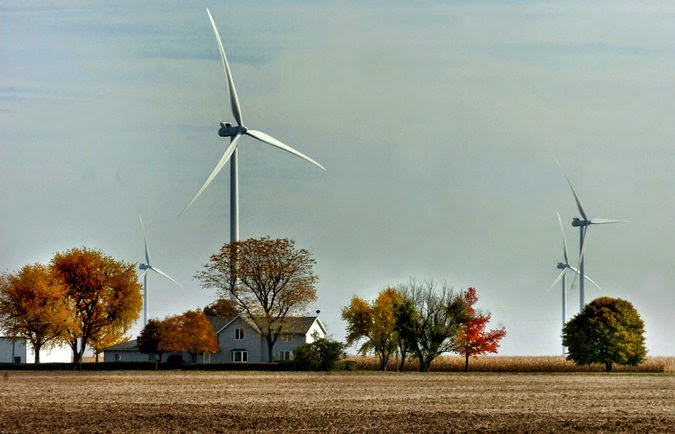 Wind turbines that collect renewable energy, set in a pasture in Van Wert County, Ohio, are visible for miles. (Credit: Laura J. Gardner/The Journal Gazette, via Associated Press) Click to enlarge.