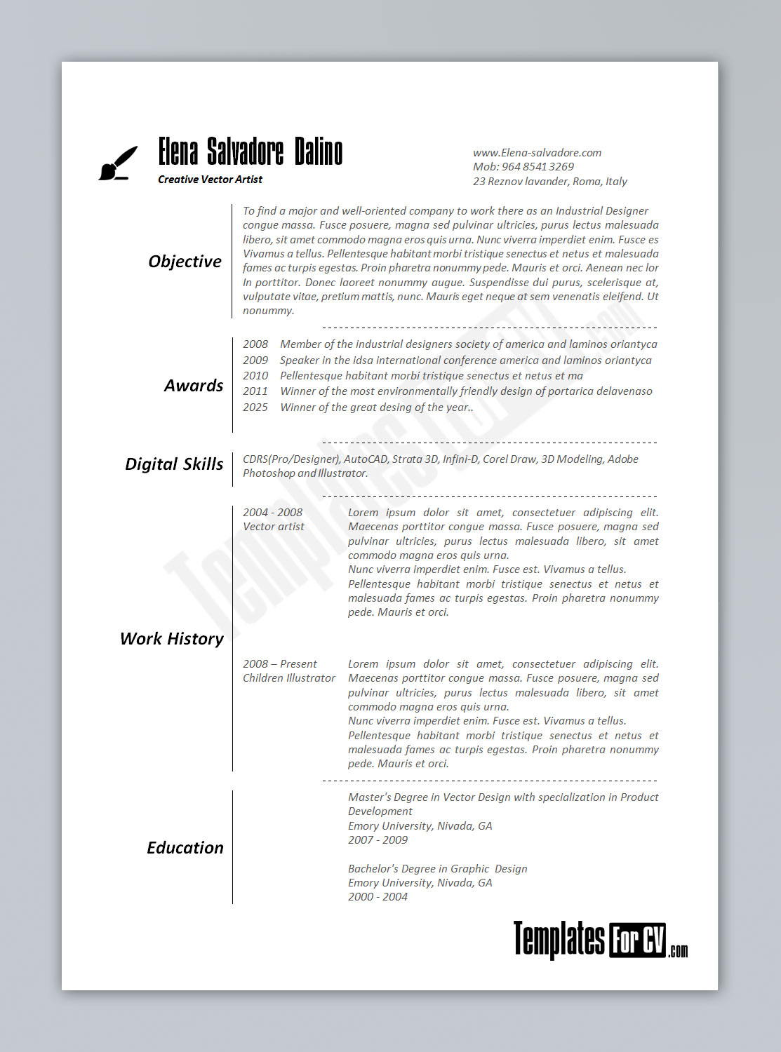 Artist CV template is Perfect for job seekers in the Art and Design ...