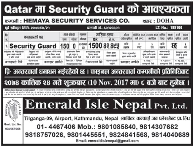 Jobs in Qatar for Nepali, Salary Rs 42,495