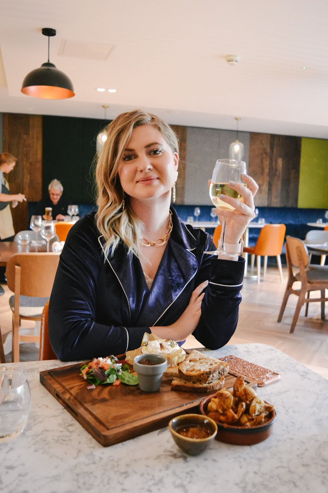 Hampshire Blogger Lana from Dalry Rose enjoying dinner at The Odyssey in Holiday Inn Winchester