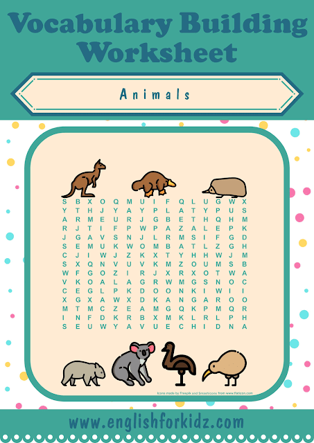 Australian animals word search worksheet - printable ESL materials