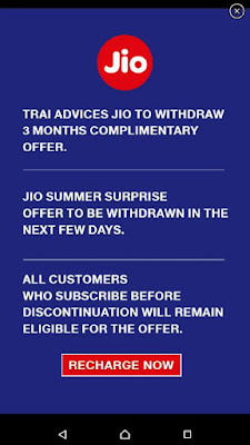 TRAI Suggests Jio to Withdraw Jio Summer Surprise Offer