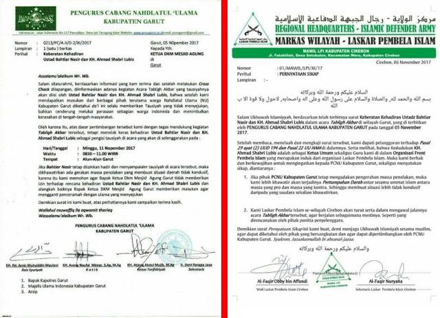 PCNU Garut Tolak Ustadz Bachtiar Nasir dan KH Ahmad Shabri Lubis, Laskar FPI Khawatir Pertumpahan Darah