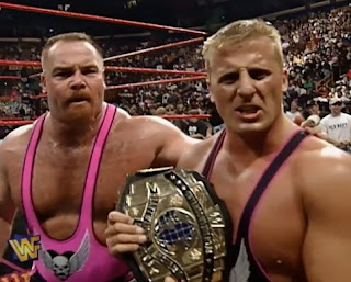 WWE / WWF - Badd Blood: In Your House 18 - Owen Hart (w/ Jim Neidhart) celebrates being a 2 time Intercontinental Champion