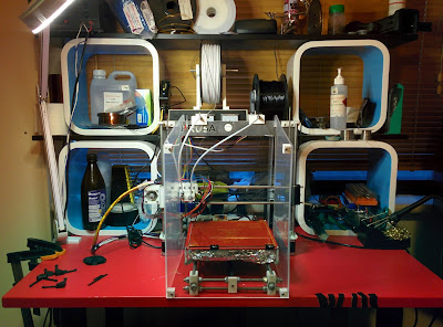 Laserphile Hydra 3D printer on desk