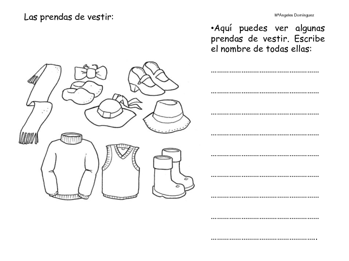 Vuelta Al Cole Divertida Iv Con El Cubo De Actividades: 50 Recursos Para Educación Infantil: Fichas -> Prendas De