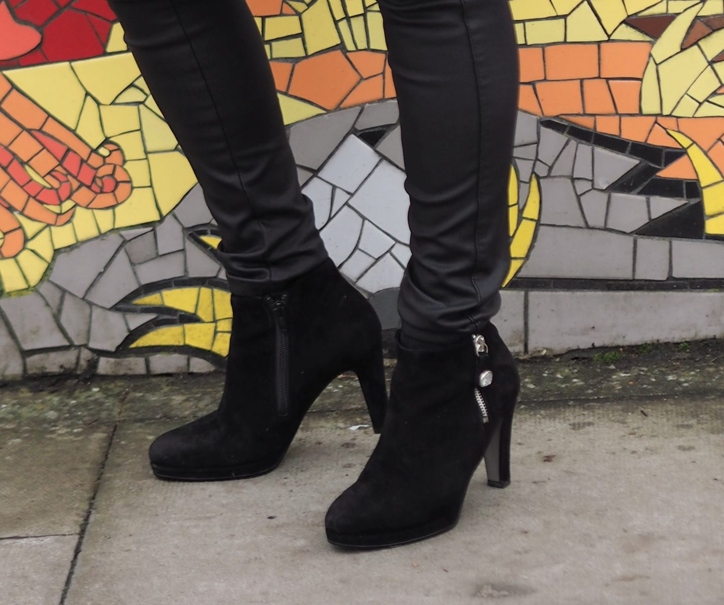Image showing close up of the black ankle boots worn by Vanity and me over 50s blogger Laurie Bronze