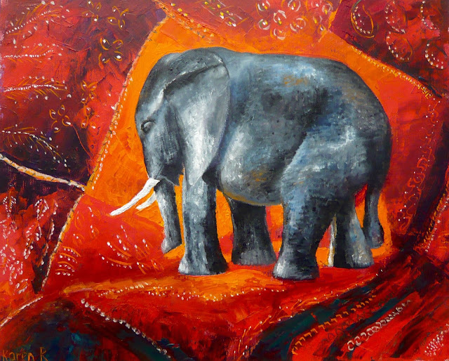 oil painting of embroidered indian fabric and an elephant