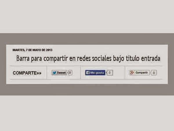 barra para compartir redes sociales bajo titulo