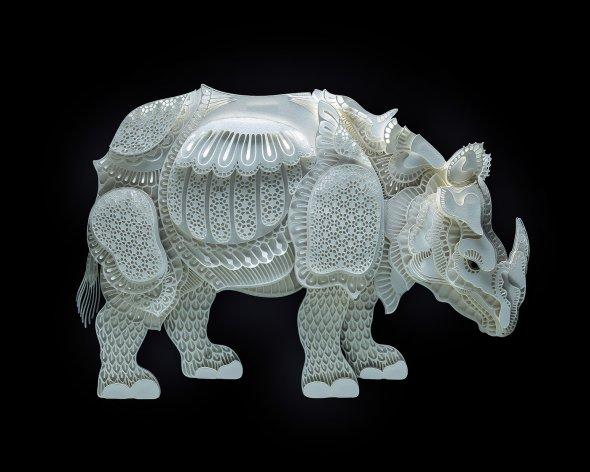 Patrick Cabral behance arte animais papel cortado espécies ameaçadas extinção wwf Rinoceronte