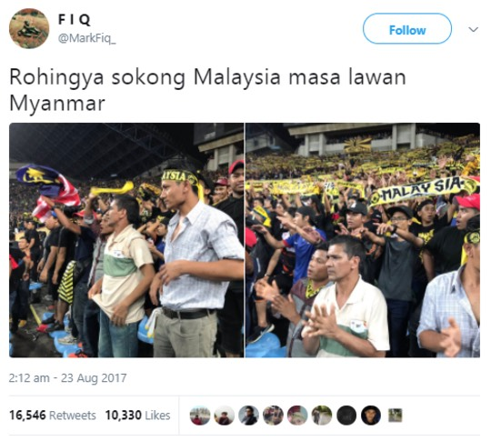 Rohingya Myanmar Sokong Pasukan Bola Sepak Malaysia