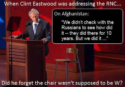 "When Clint Eastwood was addressing the RNC, did he forget the chair wasn't supposed to be W? (""We didn't check with the Russians to see how did it -- they did there for 10 years. But we did it"")"