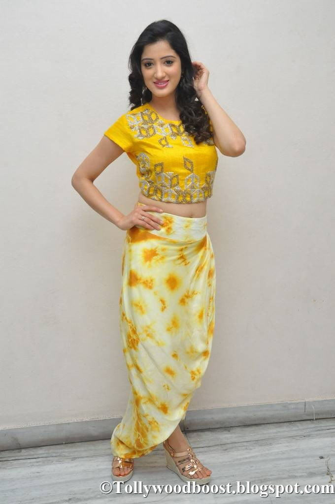 Richa Panai Stills At Theatrical Trailer Launch In Yellow Dress