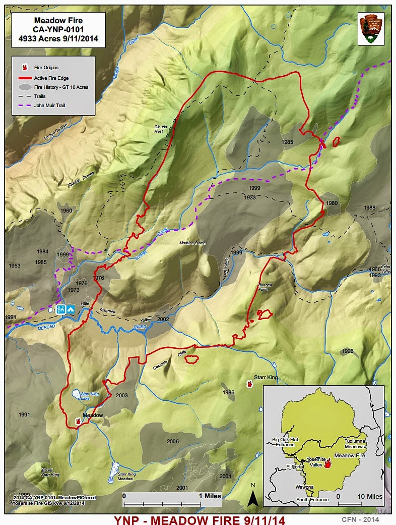 YOSEMITE NATIONAL PARK MEADOW WILDFIRE MAP