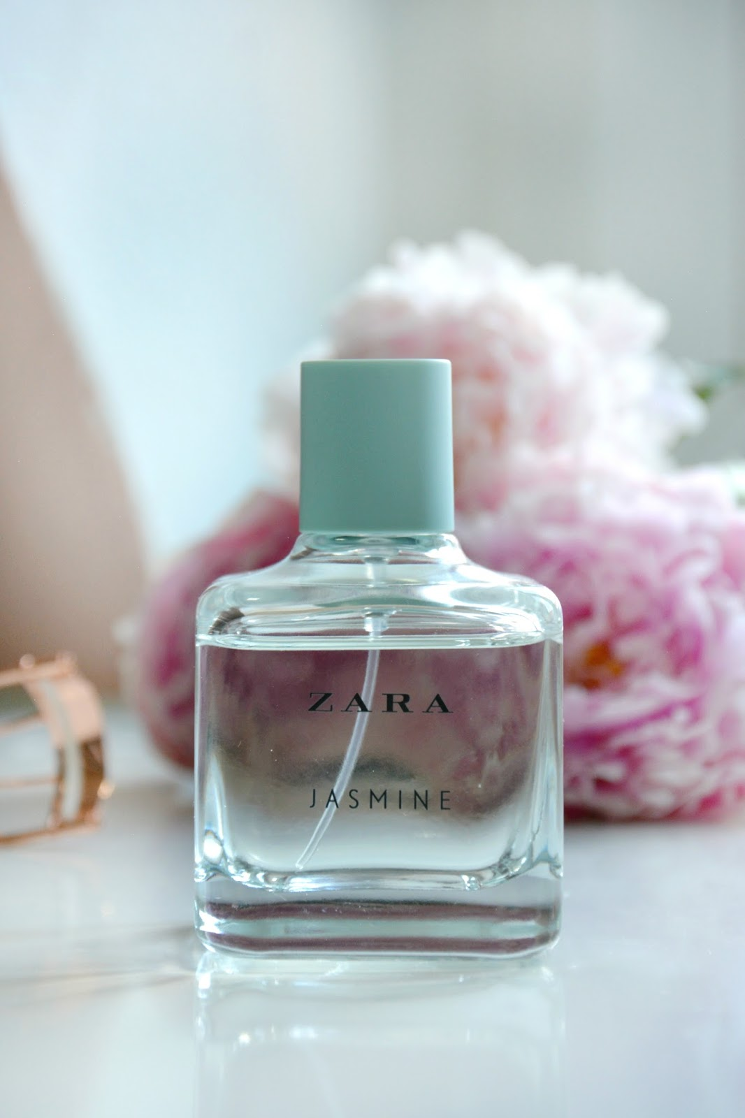 Zara Jasmine Eau de Perfume; Primark Eyelash Curler; Fresh Peonies