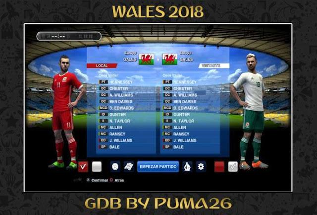 Wales 2018 Kit PES 2013