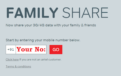 Airtel sharing internet with family