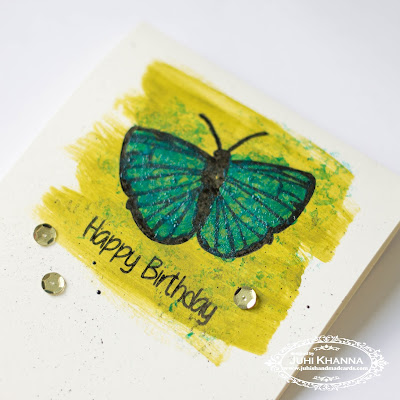 Mixed Media Card closeup- made using Happy Little Stampers Butterfly Birthday Stamps