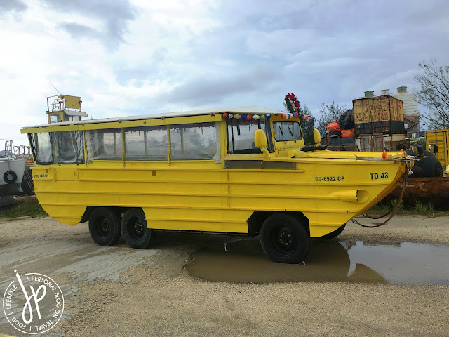 bright yellow amphibious vehicle