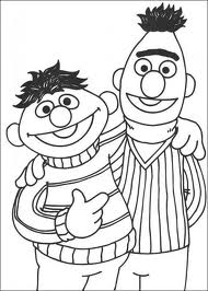 Bert and ernie cartoon characters coloring sheet