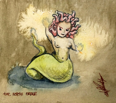 The Very Small Dark Side: Medusa by Elizabeth Casua, tHE 33ZTH oRDER watercolour artwork no frame