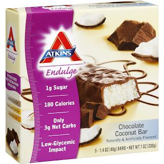Atkins, Endulge, Chocolate Coconut Bar, 5 Bars, 1.4 oz (40 g) Each  بروتين طبيعي بنكهة النارجيل