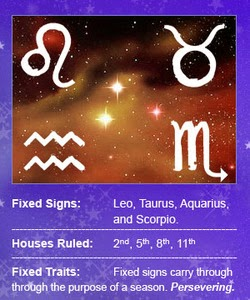 ZODIAC SIGNS: FIXED SIGNS