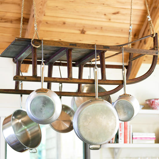 Kitchen Pot Racks Outdoor Kits Dishfunctional Designs Creative Upcycled I Love This Old Sled Rack It Has Tons Of Charm