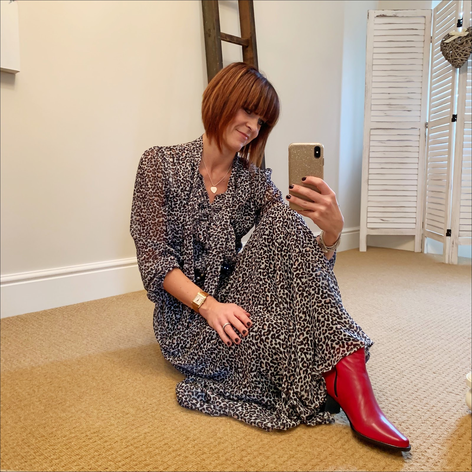 my midlife fashion, lily and lionel leopard print frill detail maxi dress, isabel marant wide studded leather belt, jones bootmaker harriet red soft leather ankle boots