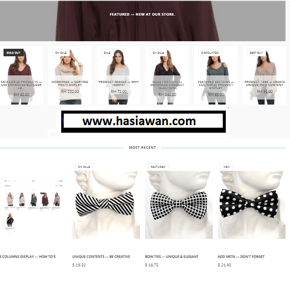 Top free eCommerce blogger template 2019 - Hasi Awan