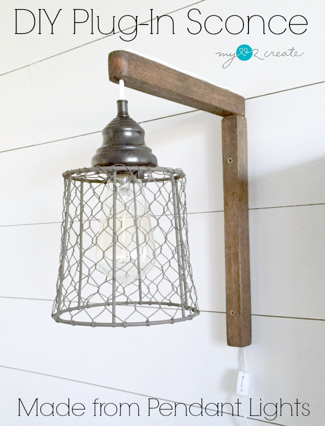 Make your own DIY Plug-in Sconces from pendant lights!  Full picture tutorial at MyLove2Create