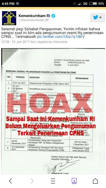 Informasi Penerimaan CPNS Kementerian Hukum dan HAM Hoax