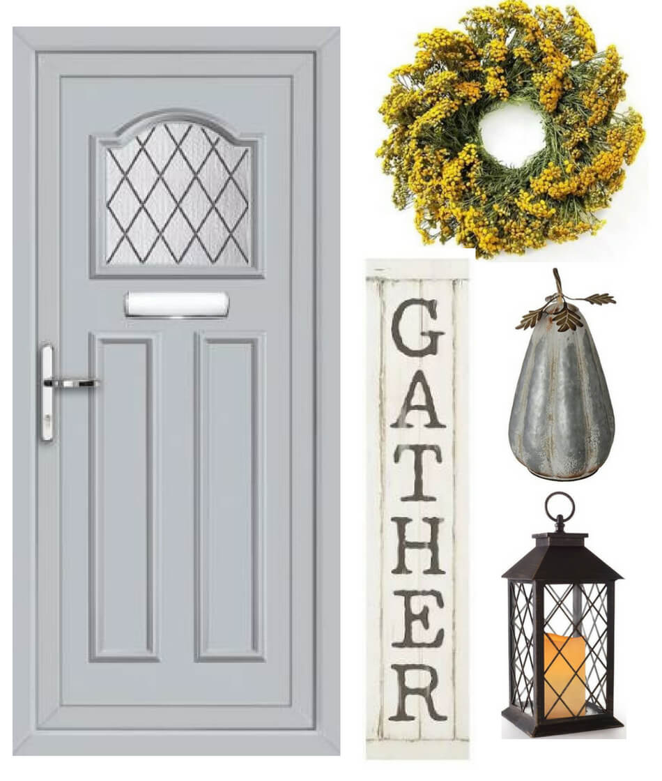 fall decorating ideas for a grey front door