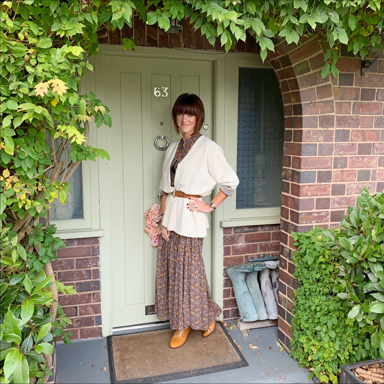my midlife fashion, italy in cashmere, pure cashmere duster cardigan, isabel marant block heel ankle boots, mango floral chiffon dress, and other stories studded waist belt