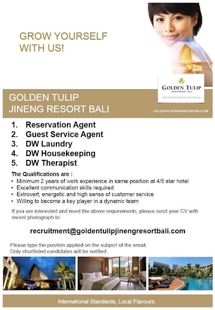Lowongan kerja Golden Tulip Jineng Resort Bali 2018