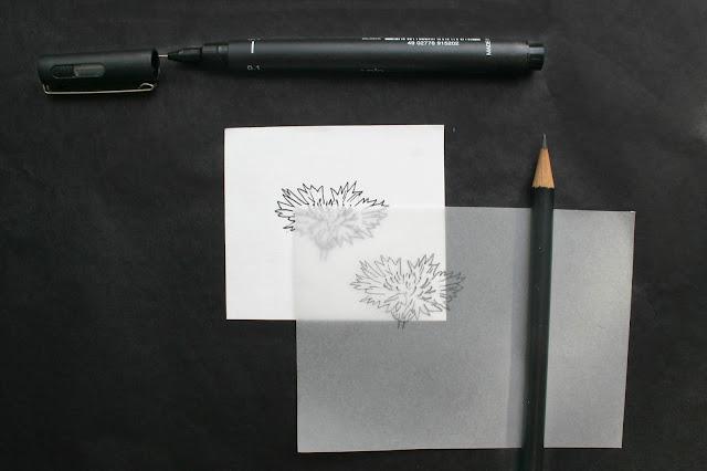 Skizze und Transparentpapier