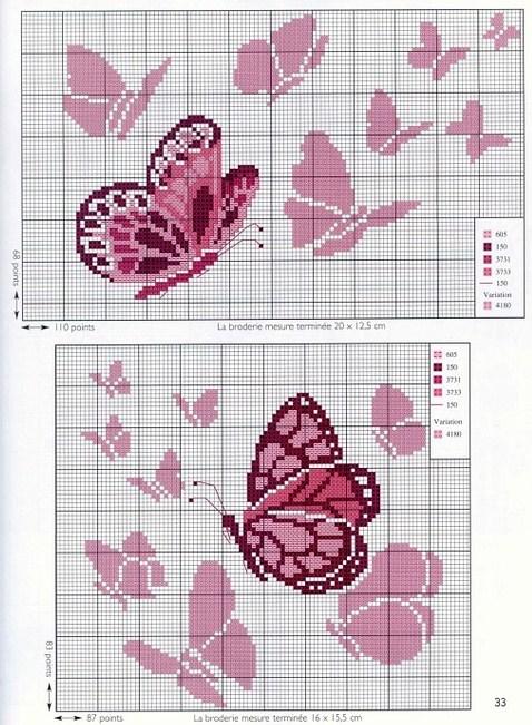 Graficos punto de cruz gratis mariposas 24 for Farfalle punto a croce