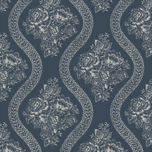 Magnolia Home Wallpaper-York Wallcoverings-Coverlet Floral-Navy
