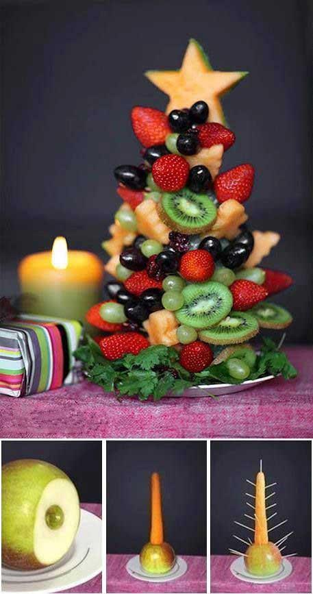 как украсить фруктовый салат в новый год