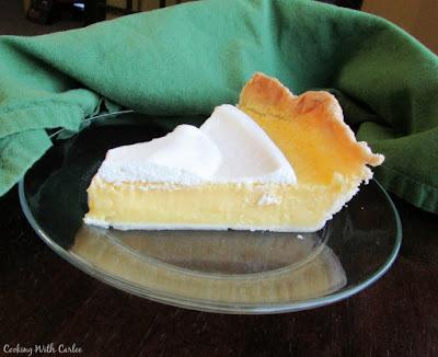 slice of lemon pie served on glass plate